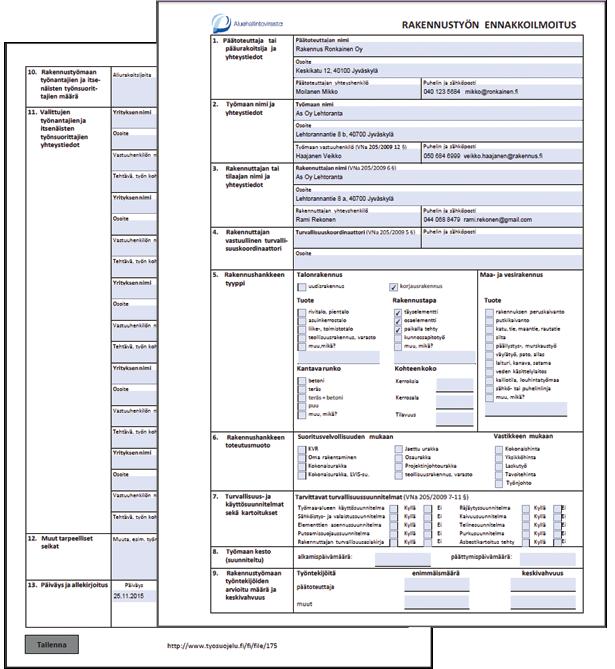 Rakennustyön ennakkoilmoitus - Esimerkkilomake - Adminetin Pdf-lomakkeet - Admicom