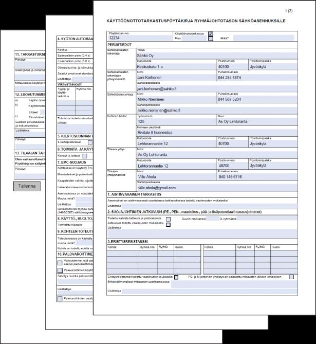 Käyttöönottotarkastuspöytäkirja - Esimerkkilomake - Adminetin pdf-lomakkeet - Admicom