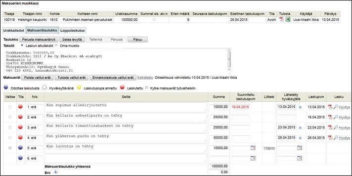 Maksuerätaulukko - Projektinhallinta - Adminet
