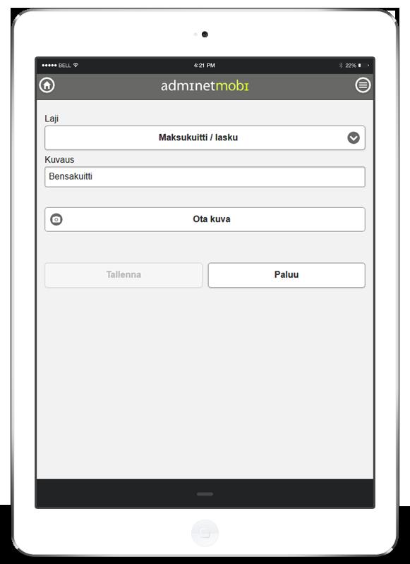 Matkalaskuohjelma - Kuitti - Kamera - Adminet mobiili