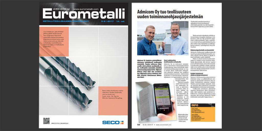 Eurometalli 5-6/2017 - Admicom Oy - Adminet teollisuuden toiminnanohjausjärjestelmä