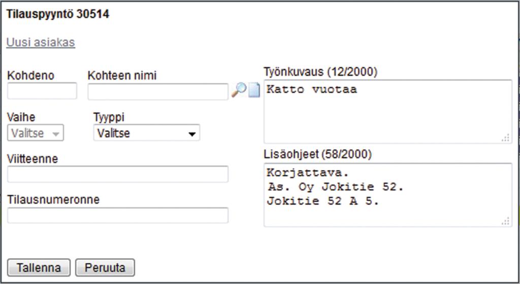 Tampuuri - Uusi työtilaus Adminetissä - Admicom Oy
