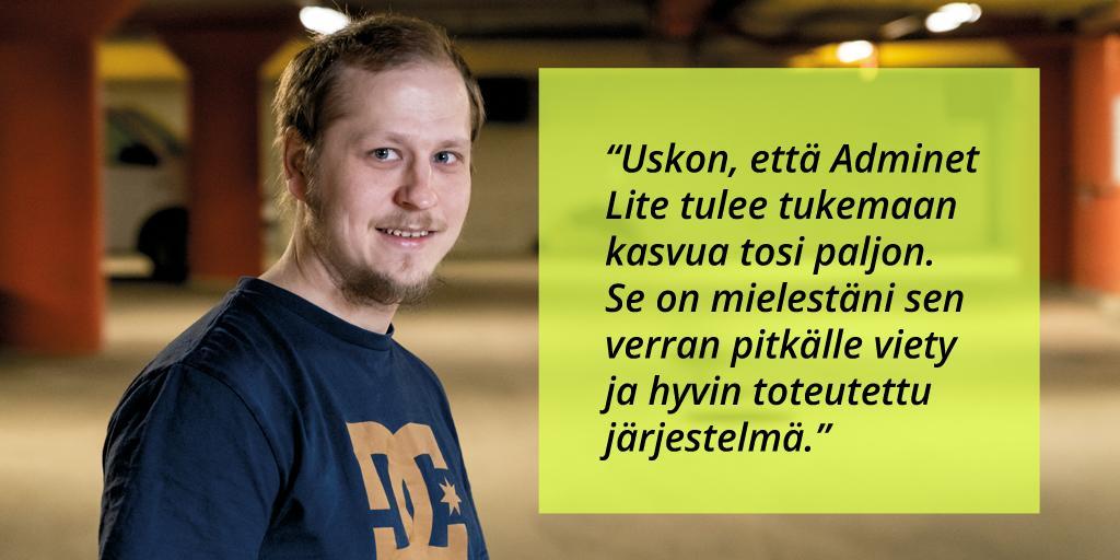 Kimmo Vehkanen, Sähköurakointi Vehkanen Oy - Adminet Lite kokemuksia