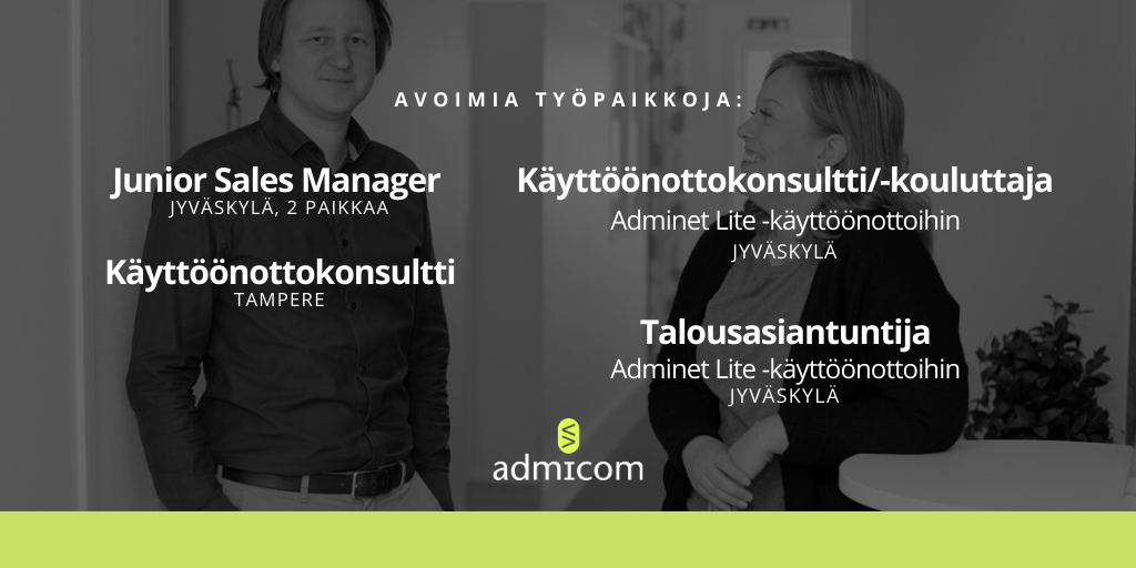 Admicom työpaikat 12/2019 - 1/2020
