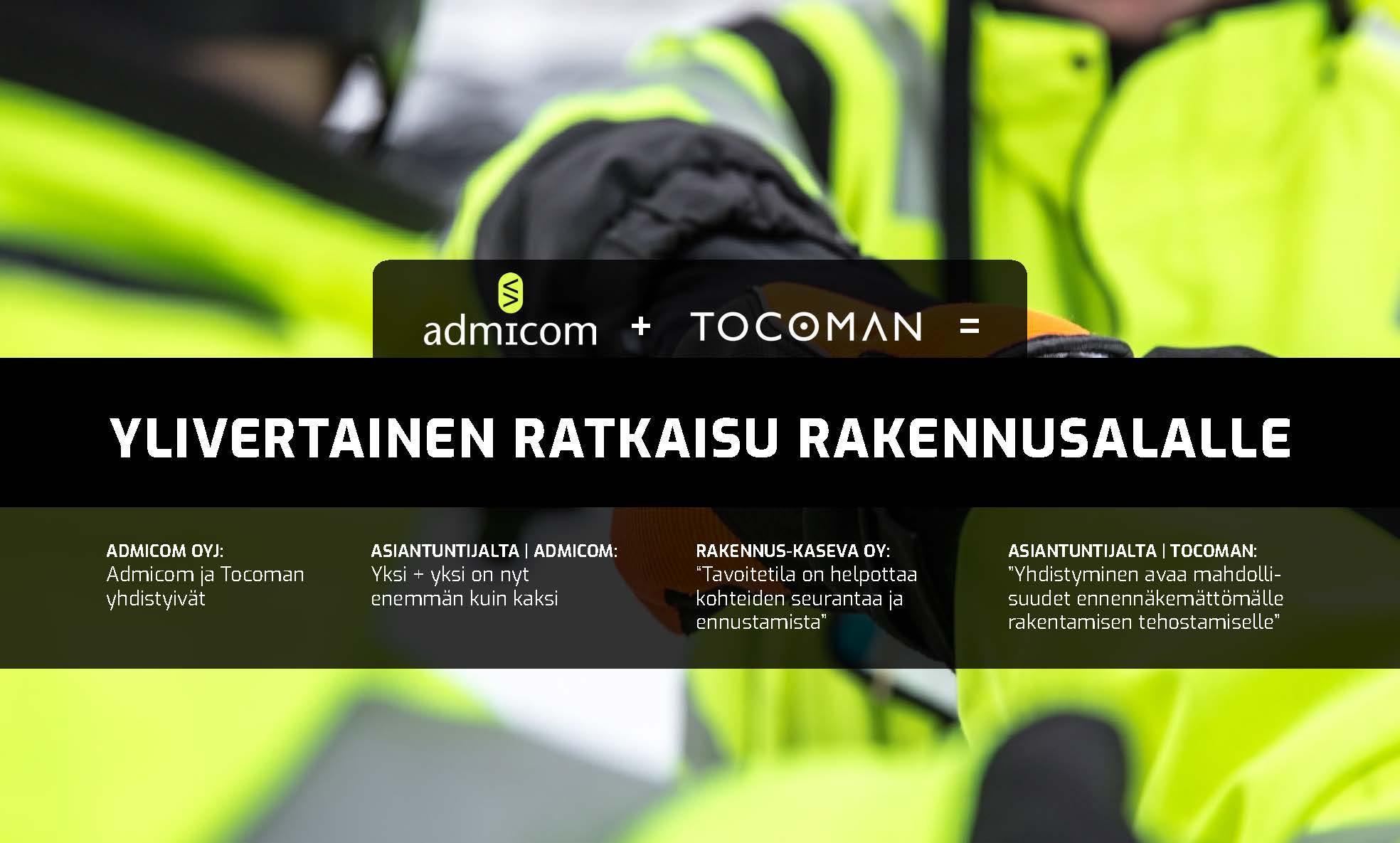 Admicom ja Tocoman - Ylivertainen ratkaisu rakennusalalle - kansi