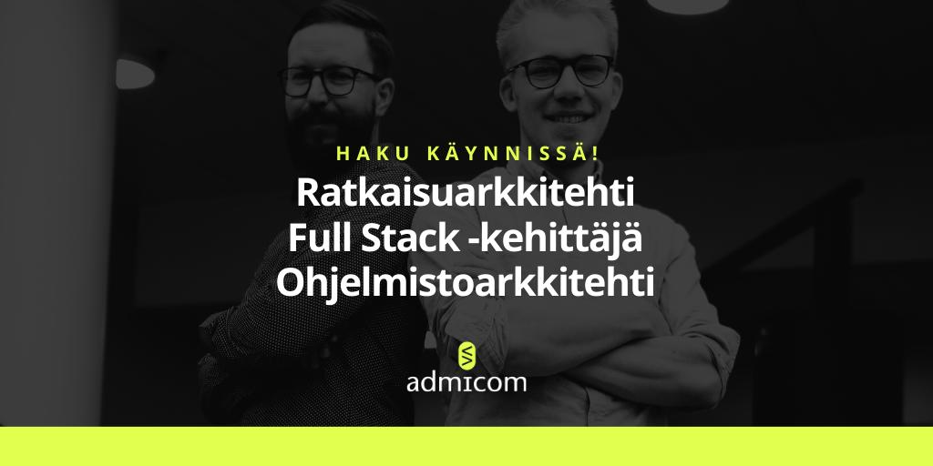 Ohjelmistokehitys työpaikat - Admicom Jyväskylä ja Tampere